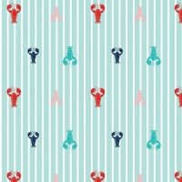 Seaside Lobsters Aqua Crustacean Lobster Stripes Nautical Cotton Fabric