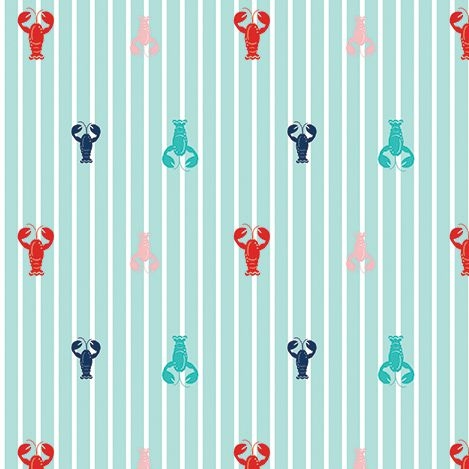 Seaside Lobsters Crustacean Lobster Cotton Fabric