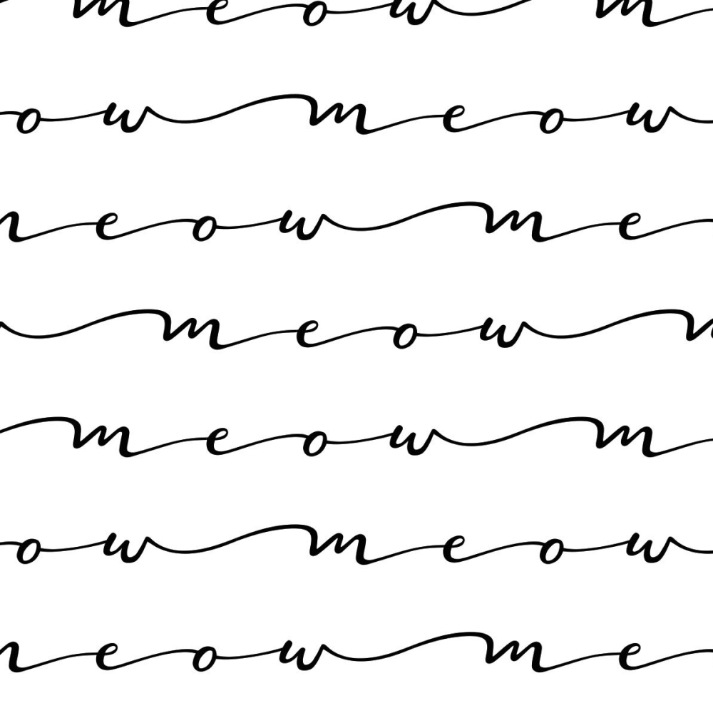 Meow Script Cursive Text Low Volume Cats Cat Monochrome Cotton Fabric