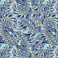 Tula Pink Zuma Sea Stingray Aquamarine Botanical Cotton Fabric