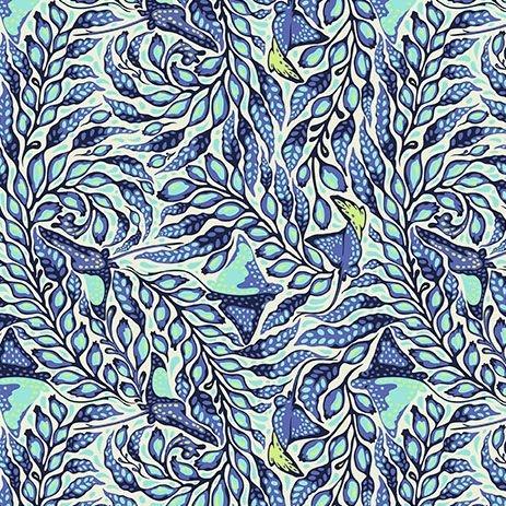 PRE-ORDER Tula Pink Zuma Sea Stingray Aquamarine Botanical Cotton Fabric
