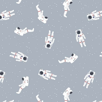 Out of this World with NASA Astronauts Gray Space Stars Astronaut Cotton Fabric