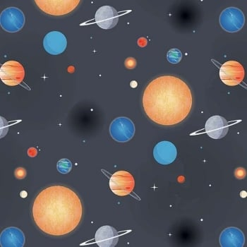 Out of this World with NASA Planets Charcoal Space Stars Solar System Planet Cotton Fabric