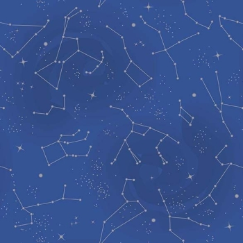 Out of this World with NASA Constellations Blue Metallic Silver Space Stars Constellation Cotton Fabric