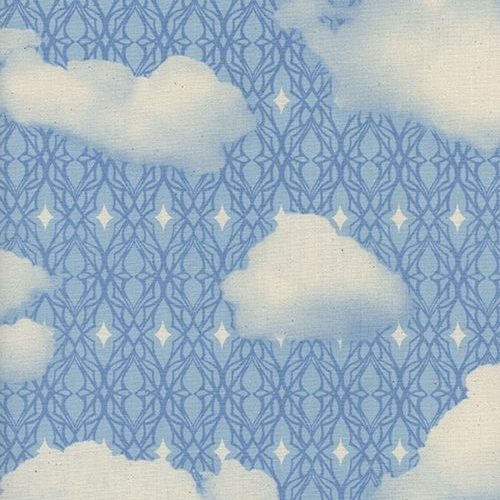 Freshly Picked Sky Blue Skies Cloud Geometric Clouds Cotton Fabric by Cotto