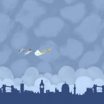 Michael Miller Sarah Jane Peter Pan Straight on Till Morning Double Border Nite London Skyline Panel Cotton Fabric