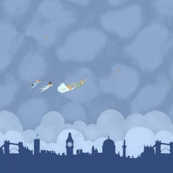 Michael Miller Sarah Jane Peter Pan Straight on Till Morning Double Border Nite London Skyline Panel Cotton Fabric