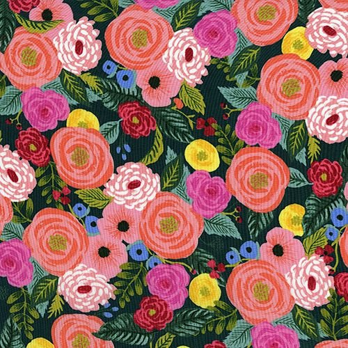 Rifle Paper Co. English Garden Juliet Rose Navy Floral Rayon Challis Fabric