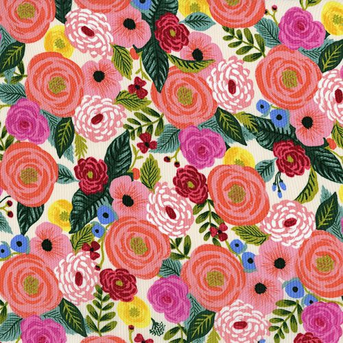 Rifle Paper Co. English Garden Juliet Rose Cream Floral Rayon Challis Fabri