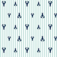 Seaside Lobsters Teal Crustacean Lobster Stripes Nautical Cotton Fabric