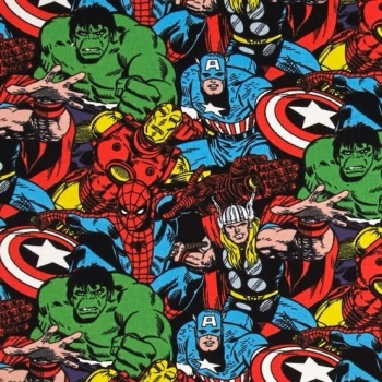 REMNANT Avengers Marvel Superhero Packed Character Thor Hulk Captain America Iron Man Cotton Fabric