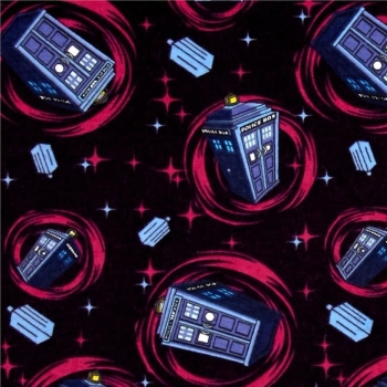 REMNANT Doctor Who Tardis Space Phone Booth Pink Swirl BBC Cotton Fabric