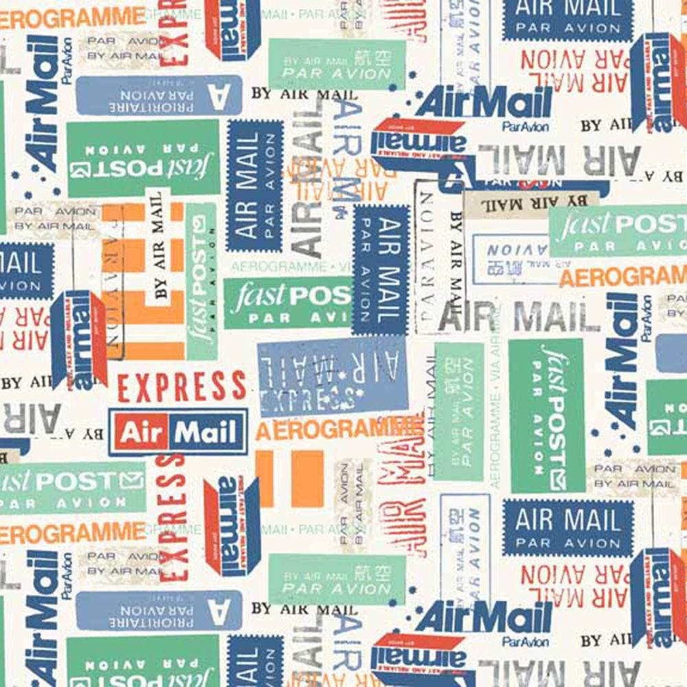 REMNANT Airmail Travel Stamp Special Delivery Cotton Fabric