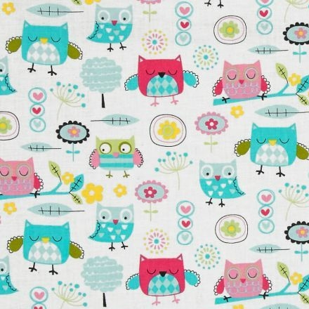 REMNANT Owl It's A Hoot Baby Owls Multi on White Cotton Fabric