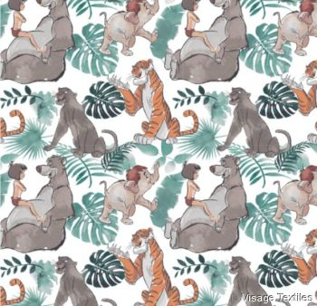 REMNANT Disney Classics Jungle Book Watercolour Baloo Mowgli Shere Khan Bagheera Cotton Fabric