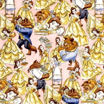 REMNANT Disney Princess Beauty and the Beast Belle Sketch Dancing Cotton Fabric