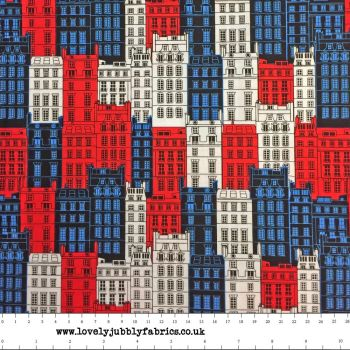 REMNANT Britain's Best Iconic City Flats Townhouses Buildings London British Theme Cotton Fabric