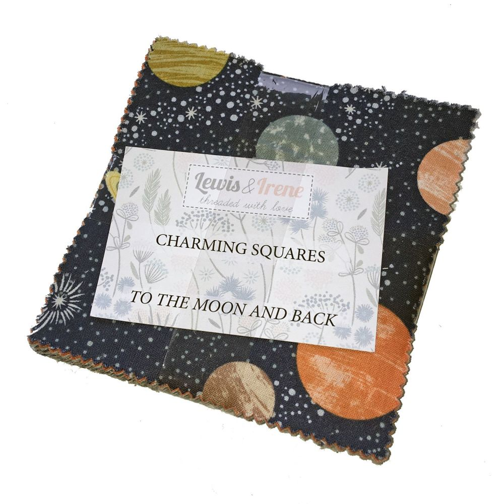 Lewis and Irene To The Moon and Back Space Charm Square Quilting Squares