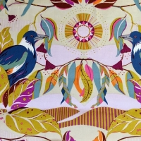 Horizons Magpie Horizon Moody Bird Botanical Leaves Floral Cotton Fabric