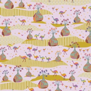 Horizons Boab Plains Moody Trees Emus Scenic Cotton Fabric