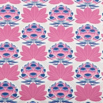 REMNANT 72cm Avalon Sugar Bloom Berry Lotus Blossom Flower Geometric Floral Cotton Fabric