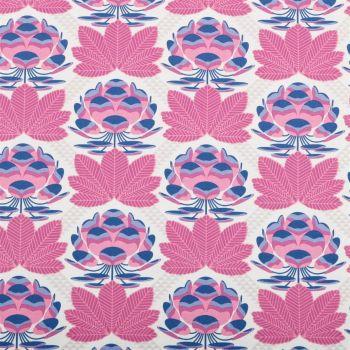 REMNANT 72cm Avalon Sugar Bloom Berry Lotus Blossom Flower Geometric Floral Cotton Fabric