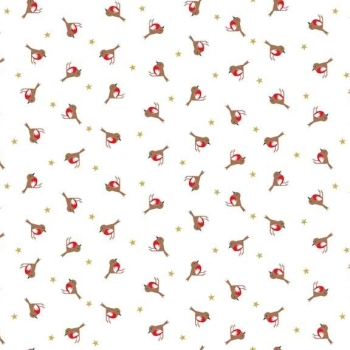 Silent Night Robins Stars Metallic Gold Christmas Robin Bird Cotton Fabric by Makower