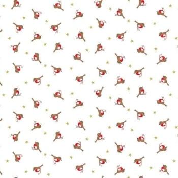 Silent Night Robins Stars Metallic Gold Christmas Robin Bird Cotton Fabric by Makower