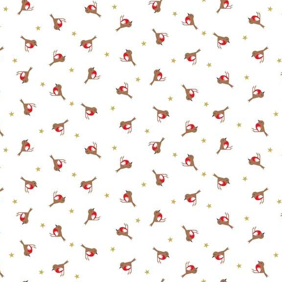 Silent Night Robins Stars Metallic Gold Christmas Robin Bird Cotton Fabric