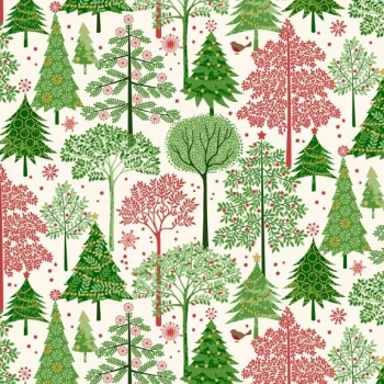 Silent Night Trees Forest Robin Metallic Gold Christmas Christmas Tree Cotton Fabric by Makower