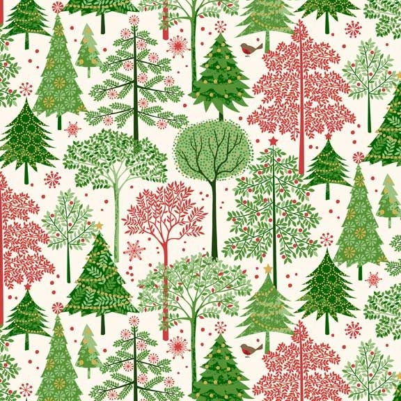 Silent Night Trees Metallic Gold Christmas Christmas Tree Cotton Fabric by