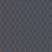 City Nights Architectural Blender Geometric on Darkest Blue with Metallic Rose Gold Copper Cotton Fabric