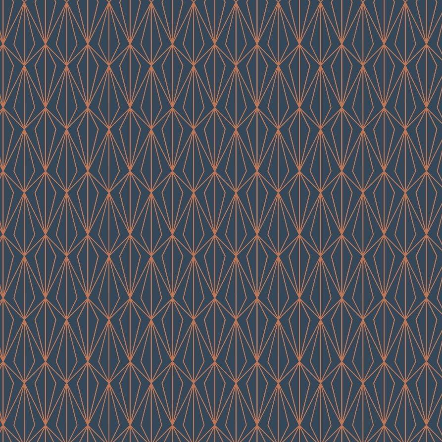 City Nights Architectural Blender Geometric on Darkest Blue with Metallic R
