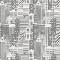 City Nights City Buildings London Skyline Building Geometric Metallic Silver Cotton Fabric
