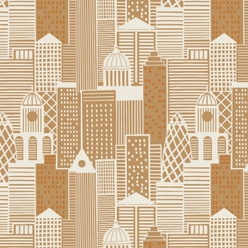 City Nights City Buildings London Skyline Building Geometric Metallic Copper Rose Gold Cotton Fabric