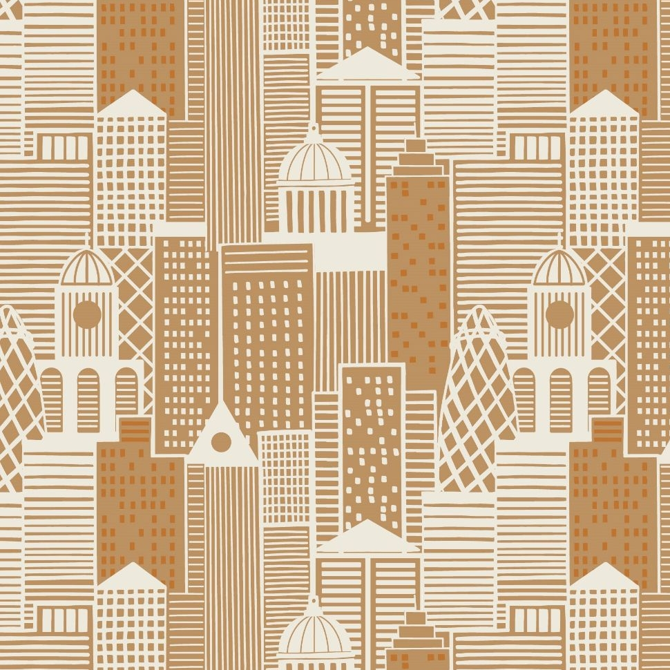 City Nights City Buildings London Skyline Building Geometric Metallic Coppe