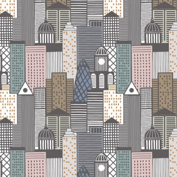 City Nights City Buildings Multi London Skyline Building Geometric Metallic Copper Rose Gold Cotton Fabric