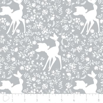 Disney Bambi Silhouette Grey Woodland Floral Nursery Cotton Fabric