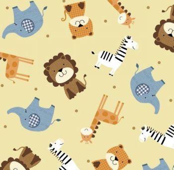 1 Metre Precut Noah's Story Ark Animals Tossed Tiger Zebra Giraffe Elephant Lion Nursery Cotton Fabric