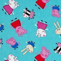 Peppa Pig and Friends Aqua Nursery Character Cotton Fabric