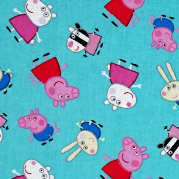 REMNANT Peppa Pig and Friends Aqua Nursery Character Cotton Fabric