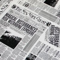 Fantastic Beasts and Where To Find Them New York Ghost Newspaper Newsprint Harry Potter Magical Wizard Witch Cotton Fabric
