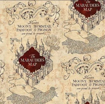 Harry Potter Marauders Map Hogwarts Cotton Fabric
