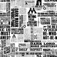 Harry Potter Newsprint Newspaper Daily Prophet Dark Lord Ministry of Magic DELUXE Cotton Fabric