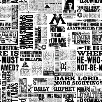 Harry Potter Newsprint Newspaper Daily Prophet Dark Lord Ministry of Magic Cotton Fabric
