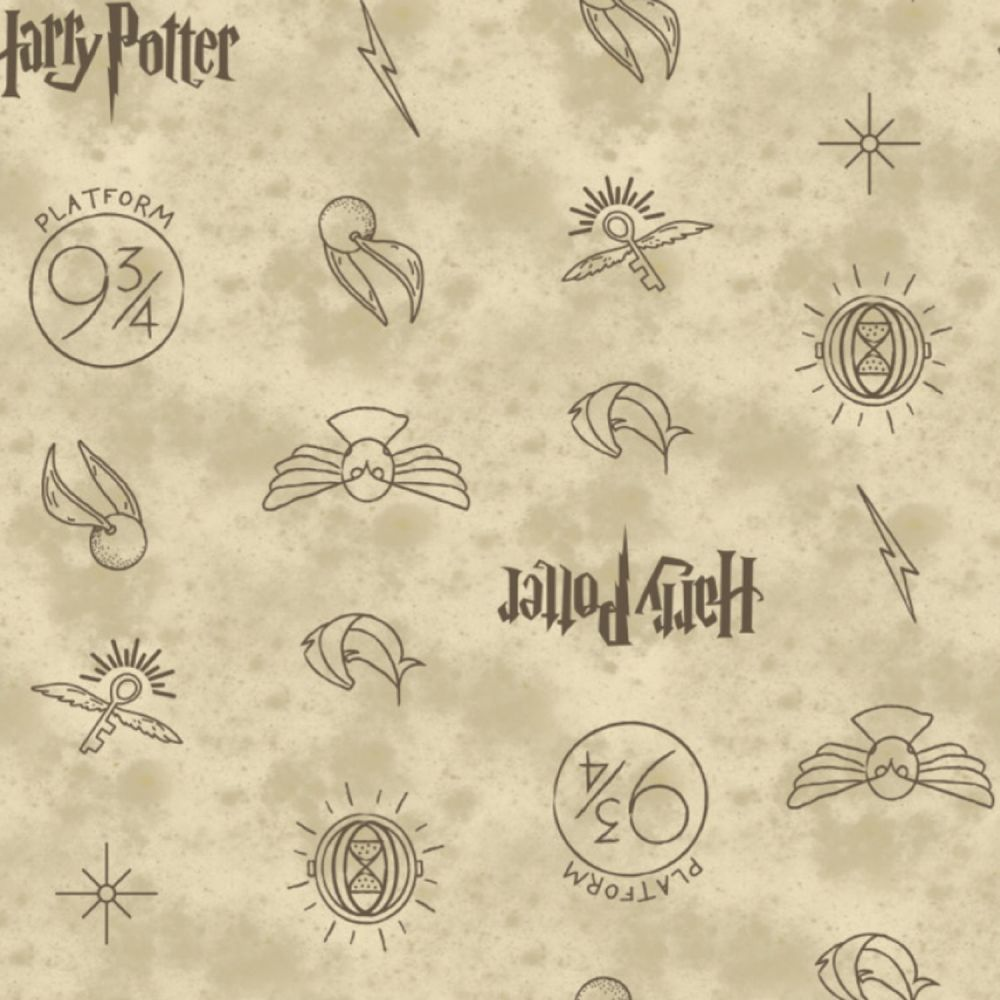 PRE-ORDER Harry Potter Symbols Golden Snitch Icons Hogwarts Cotton Fabric