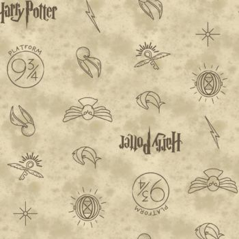 Harry Potter Symbols Golden Snitch Icons Hogwarts Cotton Fabric