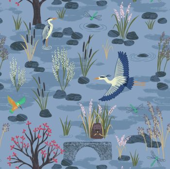 The Water Meadow Down By The River Dusky Blue Kingfisher Otter Heron British Birds Wildlife Countryside Cotton Fabric