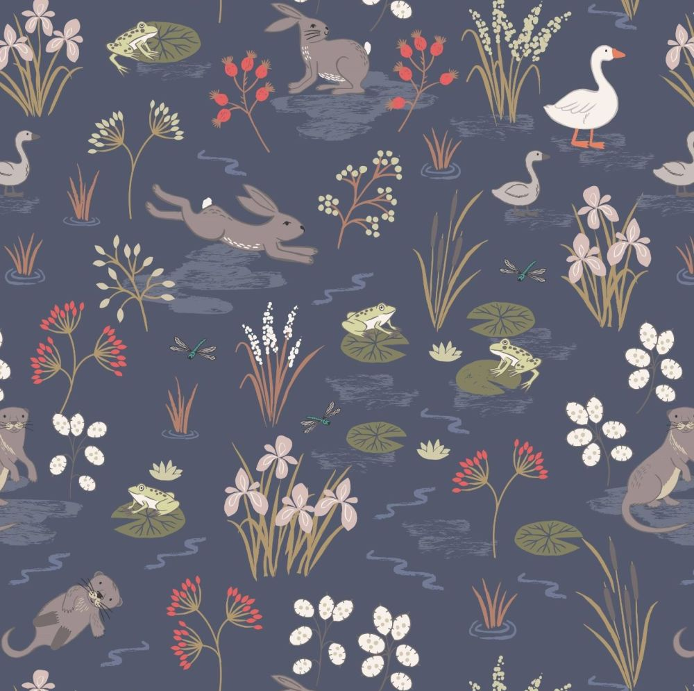 The Water Meadow Navy Hare Otter Goose British Wildlife Countryside Cotton