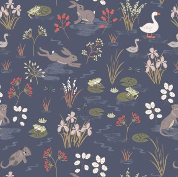 The Water Meadow Navy Hare Otter Goose British Wildlife Countryside Cotton Fabric